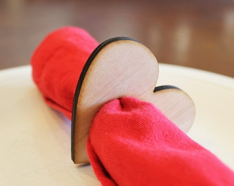 Heart Wood Napkin Rings, Valentine's Day, Laser Cut Set of 4, 8, 12, Large Size