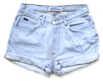 Vintage 90s Express Light Blue Wash High Waisted Rise Cut Offs Cuffed Rolled Jean Denim Shorts - Size 30