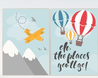 Hot Air Balloon Nursery Art, oh the places you'll go, nursery decor, Baby Shower Gift, New Baby Gift, kids room decor, playroom decor