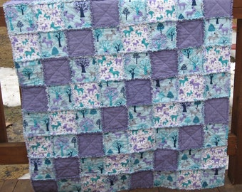 Aqua Turquios and Purple Woodland Deer Soft and Snuggly Crib Sized Reversible  Flannel Rag Quilt Wuzzy