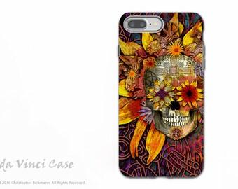Sunflower Sugar Skull iPhone 7 PLUS - 8 PLUS Tough Case - Dia De Los Muertos Apple iPhone 7 Plus Case - Origins Botaniskull