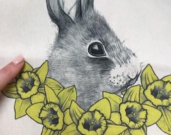 Spring Rabbit Daffodil Tote Bags