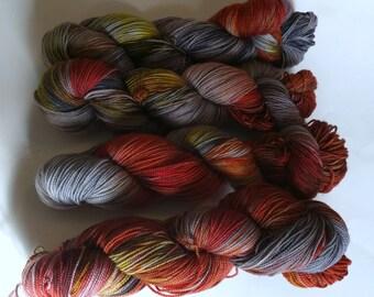 Pants on fire on Max 80/20 SW Merino Nylon Hand dyed fingering weight sock yarn
