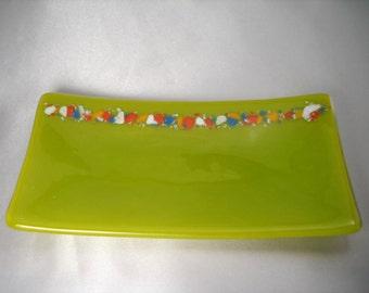 Fused Glass Sushi Dish Neon Green