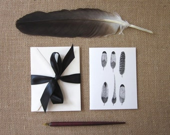 Feather Note Cards Set of 10 with Matching Envelopes