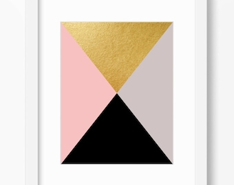 Geometric print, abstract art print, black and gold print, gold print, minimalist print, pink wall decor, instant download, 11x14 print