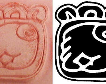 Design Stamp - Mayan Codex #6 Hieroglyphic Design for Polymer Clay, PMC, Ceramic Clay, Scrapbooking