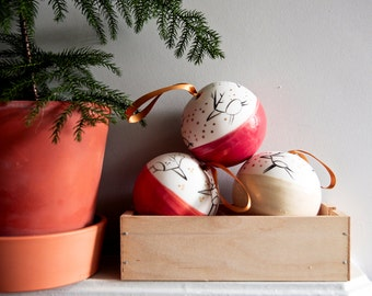 Christmas baubles, traditional white red gold porcelain Christmas ornament, fun quirky reindeer decoration, work colleague, hostess gift