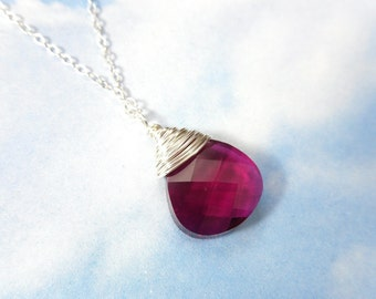 Sterling silver wrapped Ruby Crystal Necklace - Gorgeous Fuchsia Swarovski teardrop crystal, hand-wrapped - Free shipping in USA