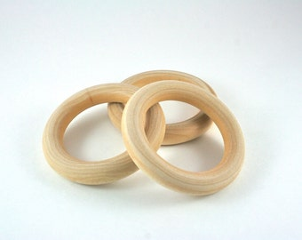 3 Wood Rings - 3 inch Unfinished Wooden Rings for Waldorf inspired crafts, Hand Kites, Fairy Dancing Rings, Montessori games