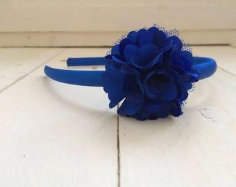 Royal Blue Satin Hairband, Royal Blue Flower