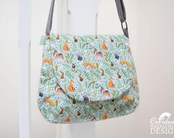 Woodland Animals Handbag, Cross Body Bag, Small Messenger Bag, Shoulder Bag