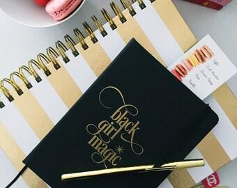 Black Girl Magic | Notebook Jotter #blackgirlmagic Gold Foil- Boss Lady - Every Day I'm Hustlin'