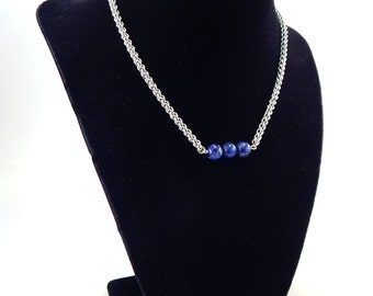 Lapis Lazuli and JPL Chainmaille Layering Necklace
