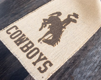 Wyoming Cowboys burlap table runner - rustic home decor for the farmhouse style