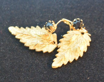 Miriam Haskell Leaf Earrings - Russian Gold, Swarovski Crystals - Free US Shipping - Vintage - Fabulous!