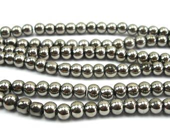 70 4 mm Silver metallic glass beads