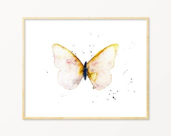Watercolor Butterfly Art Print. New Baby Gift. Blush Butterfly Nursery Decor. Gallery Wall Nature Art. Watercolor Nature Wall Art Print.