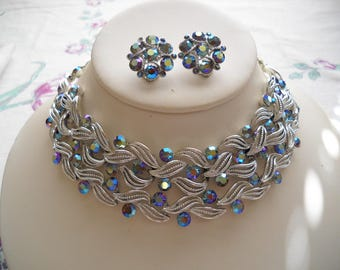 Vintage Lisner Necklace Bracelet Earrings Set Aurora Borealis Rhinestones FREE SHIPPING