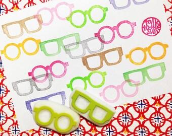 eye glasses rubber stamps set | eyewear stamps | mr&mrs | wedding christmas card making | diy collage | hand carved by talktothesun set of 2
