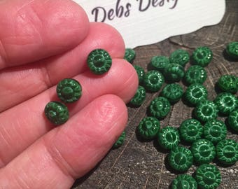 On sale  30 Tiny green Czech glass flower bead  Vintage