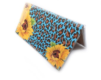 Checkbook Cover - Leopard and Sunflower - turquoise animal print and yellow sunflower checkbook holder