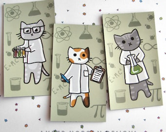 Cute Cat Magnet Trio Set Scientist Cat Magnet Cute Magnet Cat Fridge Magnet Cubicle Decor Kawaii Magnet Science Kitty Magnet Refrigerator