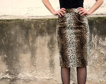 Animal Print Skirt, Leopard Print Skirt, Faux Fur, High Waisted Winter Pencil Skirt, Fake Fur, Made to Order