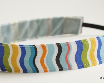 Multi Color, Bright Color, Striped Pattern Fabric Headband, Non Slip Headband (Non Slip Velvet Lining) with squiggle