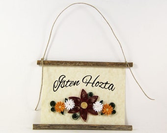 Isten Hozta, Hungarian Welcome, Paper Quilled Welcome Sign, 3D Quilled Banner, Red White Gold Decor, Hungary Gift, Rustic  Decor