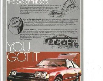 1980 Advertisement Toyota Celica GT Liftback Red 80s Hatchback Sports Car You Got It Dealership Shop Garage Wall Art Decor