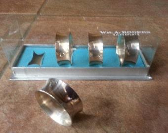 Vintage Wm. A. Rogers Silverplate Napkin Ring, Set of Four, Original Box, Simple Yet Elegant Design