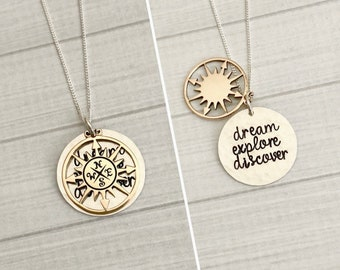 Graduation Jewelry, Dream Explore Discover, Graduation Gift, Inspirational Gift, Hidden Message Necklace, Class of 2018 Graduation Gift