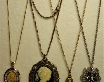 4 Gorgeous Vintage Rhinestone Cameo Necklaces