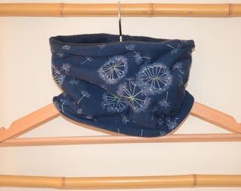 Neck circumference, snood, loop scarf baby and Navy Blue dandelions, fleece inner Navy Blue