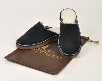 Μen's slippers. Fur slippers. Sheepskin slippers. Wool slippers. Blue slippers. Winter slippers. Warm slippers, Slippers for gift