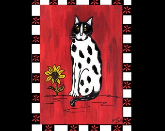 Tuxedo Cat, Folk Art, Acrylic And Ink Painting, Red White Black, Nursery Decor, Children's Bedroom, Domestic Animal, Giclee Print, 8 x 10