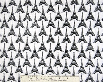 Pepe in Paris Fabric - Black & White Eiffel Tower - Riley Blake YARD