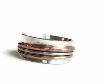 Silver Gold and Copper Spinner Ring - Fidget Ring - Fidget Spinner Ring