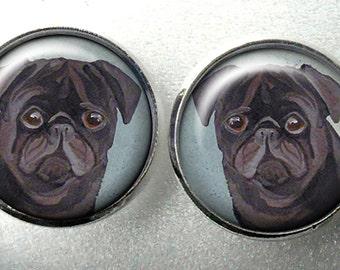 Black Pug Stud Earrings ~ Girlfriend Gift ~ Pug Lover ~ Ready to Ship ~ May Birthday Gift ~ Trending Items ~ Black Pug