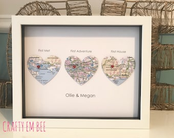 We Met, We Married, We Live | Heart Map • First Anniversary [Paper]