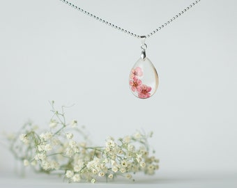 Pink Dried Flower Necklace, Dried Flower Necklace, Real Flower Necklace, Dried Flower Jewelry, Resin Jewelry, Real Flower Jewelry