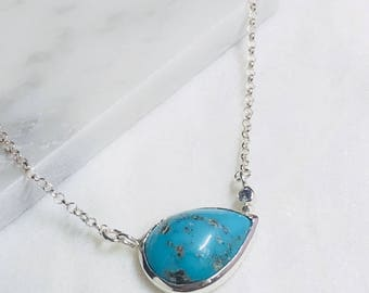 Blue Arizona turquoise silver necklace with Montana Sapphire necklace