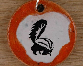Orginal handicraft: pendant with a cute skunk; forest, animal, jewelry, jewellery