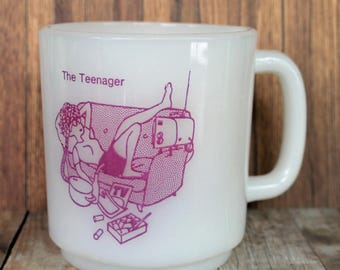 Vintage 1972 Jeannette Co Milk Glass Mug THE TEENAGER White with Pink Design