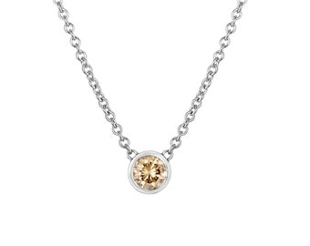 0.20 Carat  Solitaire Champagne Diamond By The Yard Necklace Pendant 14k White Gold HandMade Low Bezel Set