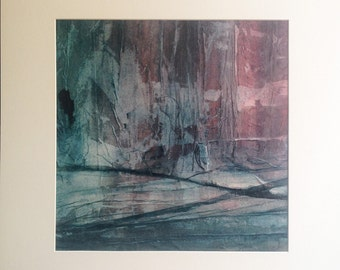 Original painting, abstract landscape, ink and collage on canvas with cardboard