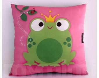 "12 x 12"" Frog Pillow, Decorative Pillow, Prince Fairy Tale Cotton Pillow, Kids Throw Pillow, Girls Room Decor, Nursery Pillow, Pink Pillow"