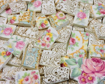 China Mosaic Tiles - IVoRY & GoLD LaCE with ViNTaGE RoSeS - 125 Hand Cut Mosaic Tiles