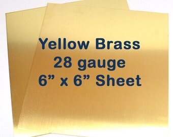 Yellow Brass Sheet Metal - 28 Gauge - 6 x 6 Inches - Choose Your Quantity